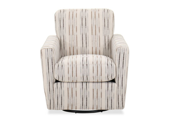Contemporary Striped 30'' Swivel Chair in Beige