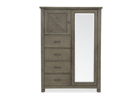 """67"""" Solid Rubberwood Four-Drawer Chifforobe in Stone"""