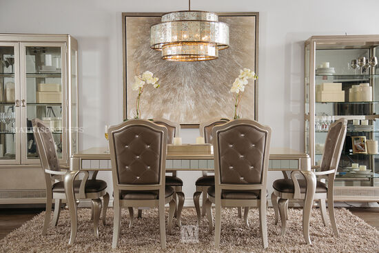 Seven Piece Diamond Button Tufted 63 Dining Set In