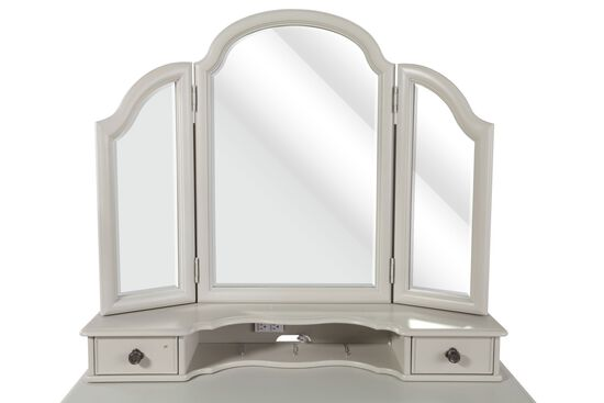 Two-Drawer Trifold Youth Vanity Mirror with Power Strip in Morning Mist Gray