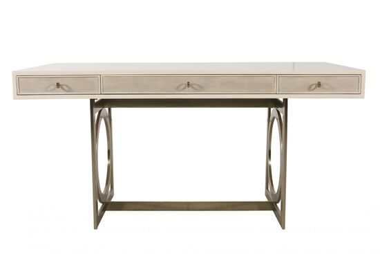 "62"" Open Circle-End Glam Desk in Alabaster"