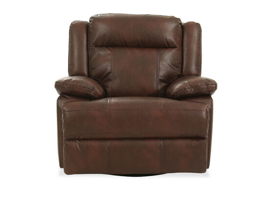"""Leather Pillow Top Arm 41"""" Power Reclinerin Brown"""