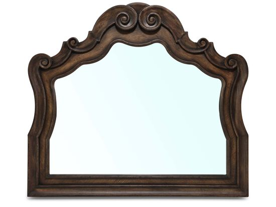 "44"" Traditional Arched Mirror in Pecan"