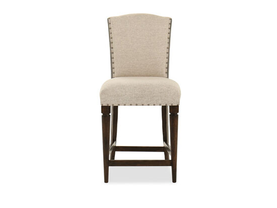 """Nailhead Accented 43"""" Armless Bar Stool in Beige"""
