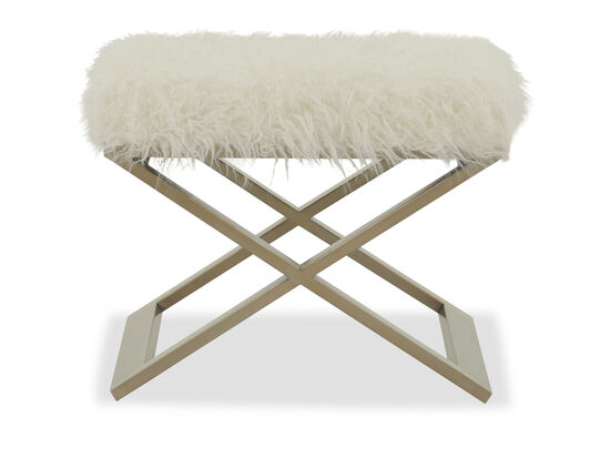 """Contemporary 23"""" X-Base Accent Bench in White"""