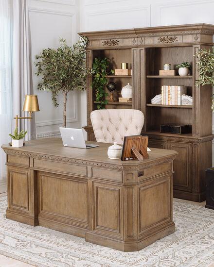 72'' Seven-Drawer Transitional Executive Desk in Aged Oak