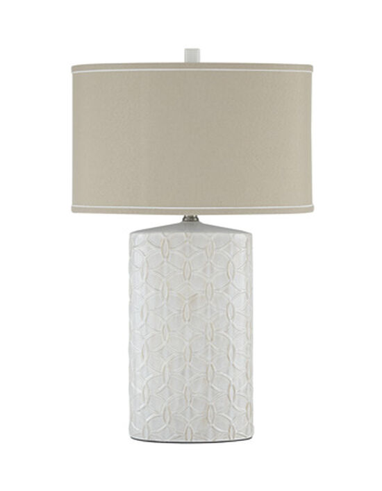 Casual Oval-Drum Table Lamp in Antique White