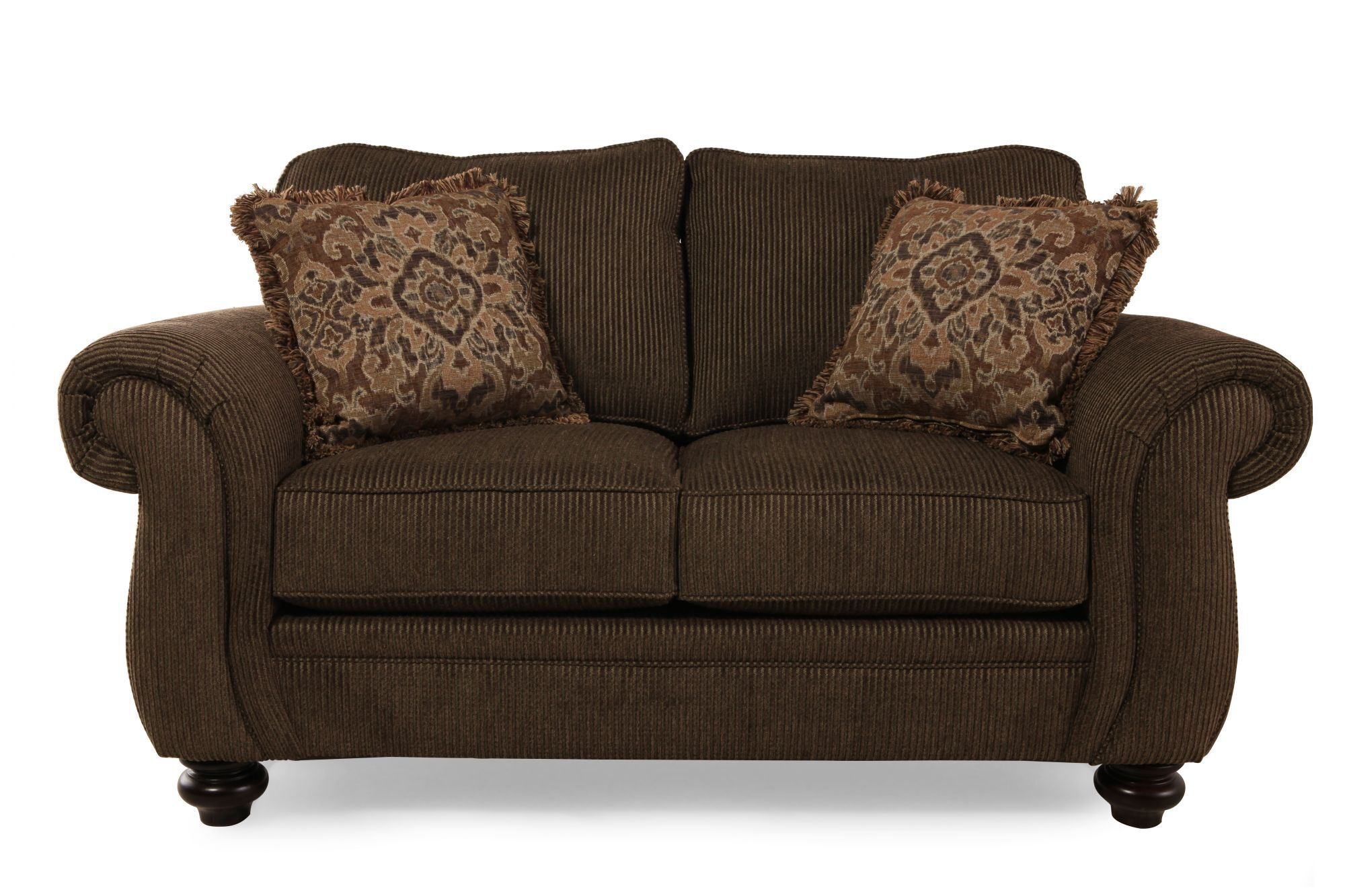 Traditional 67 Loveseat In Deep Brown Mathis Brothers Furniture