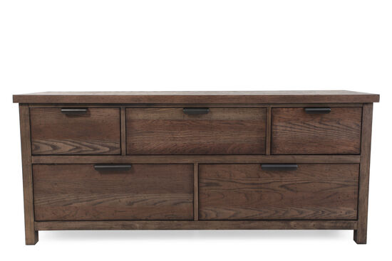 Five-Drawer Contemporary Youth Dresser in Tawny Brown