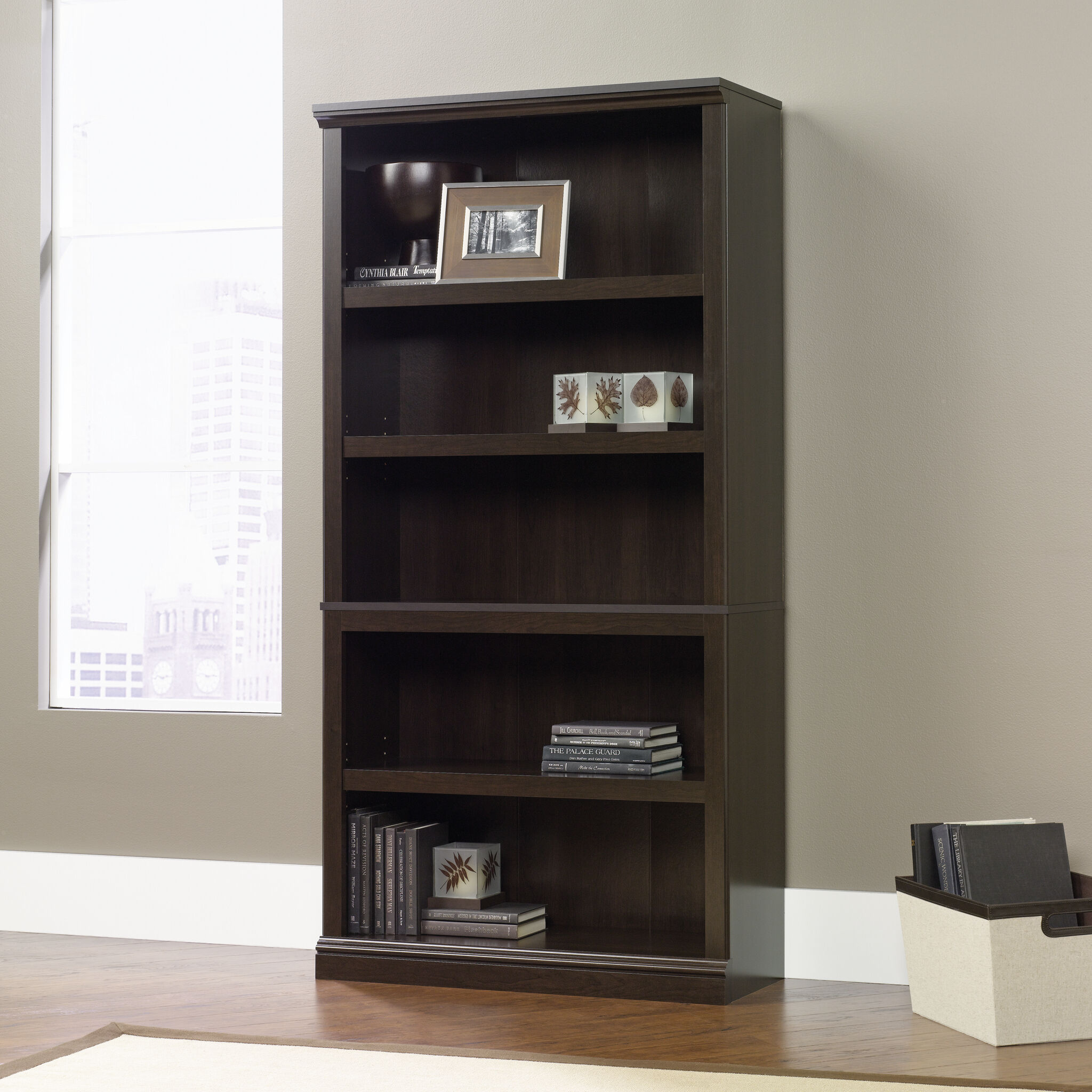 Images Transitional Adjustable Shelf Bookcase In Cinnamon Cherry