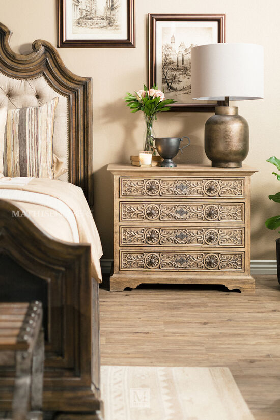 Button Tufted Weathered Bed in Brown