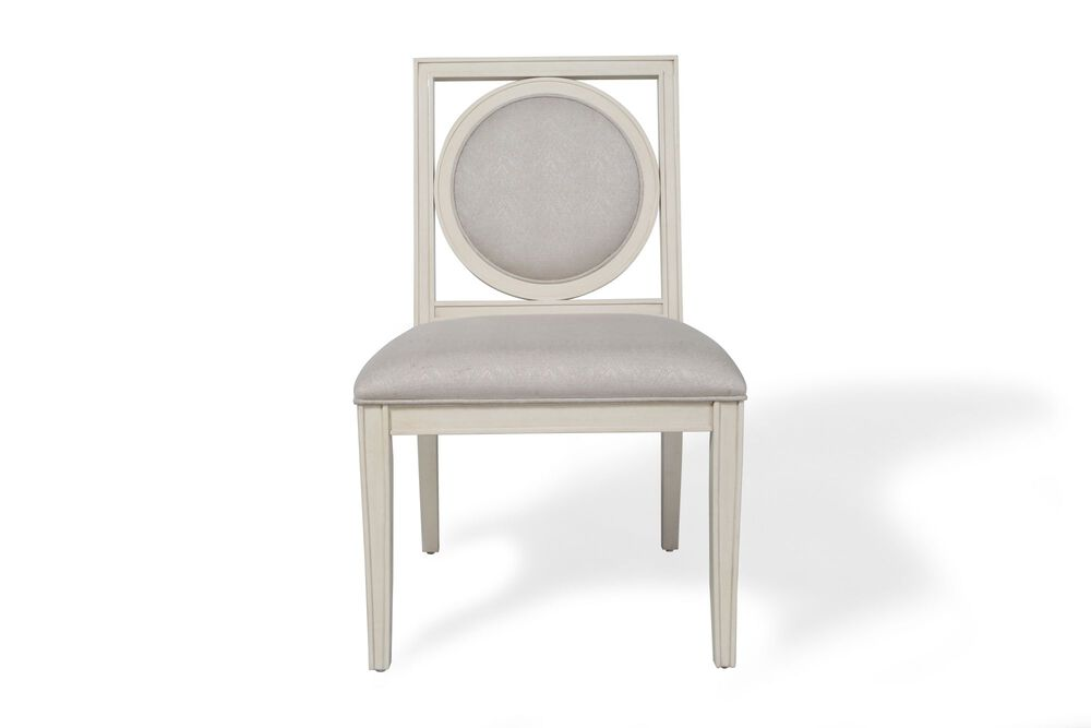 Framed-Circular Back Side Chair in Alabaster