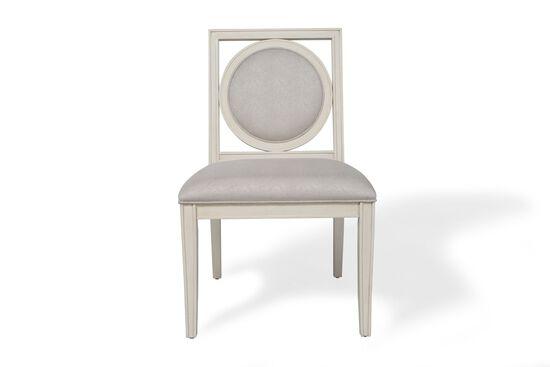 Framed-Circular Back Side Chair in Alabaster