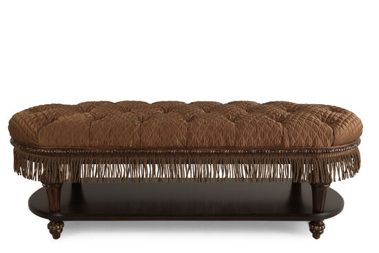 "Button-Tufted Traditional 58"" Bed Bench in Brown"