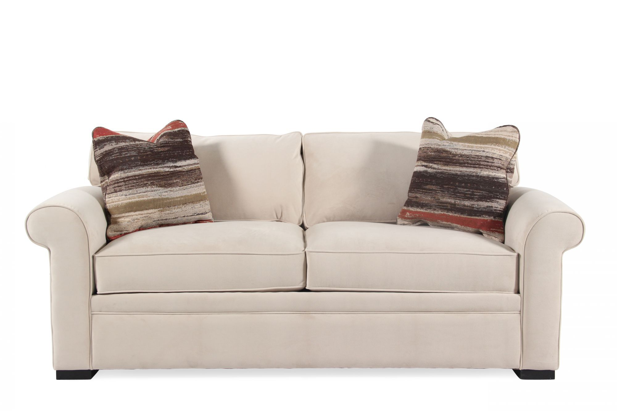 rolled arm transitional 38 sleeper sofa in cream mathis brothers rh mathisbrothers com lucan cream sleeper sofa Queen Sleeper Sofa