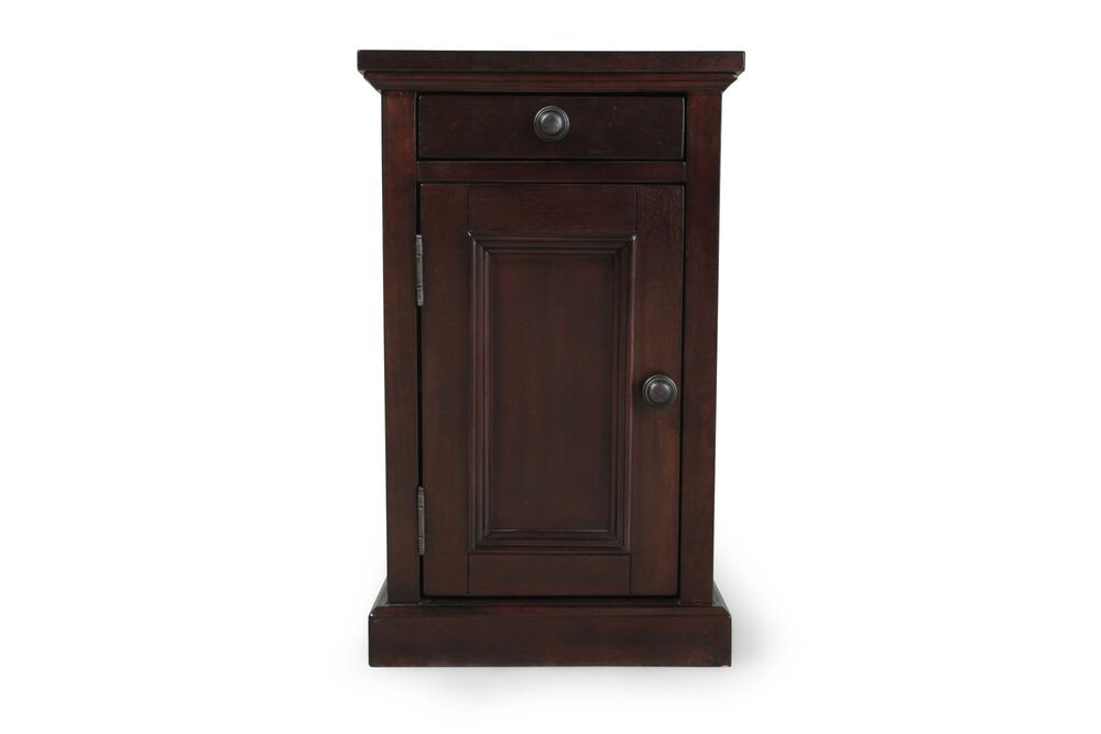 Contemporary Paneled Door End Table in Dark Cherry