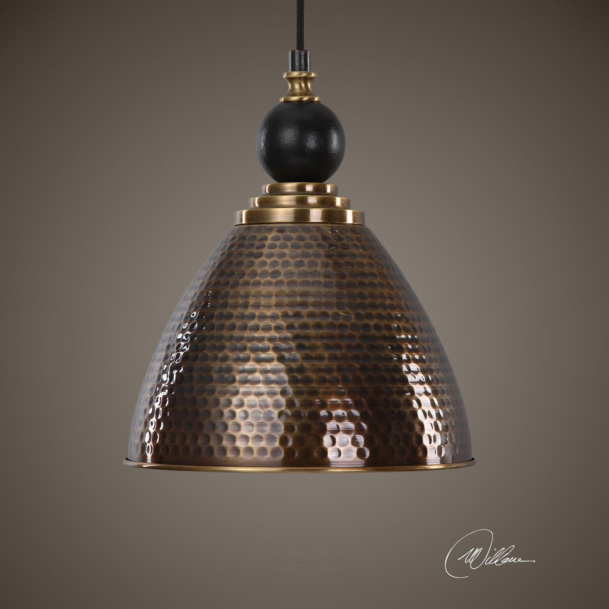 Honeycomb Pendant Light: Honeycomb-Textured Single-Bulb Pendant Light In Antique