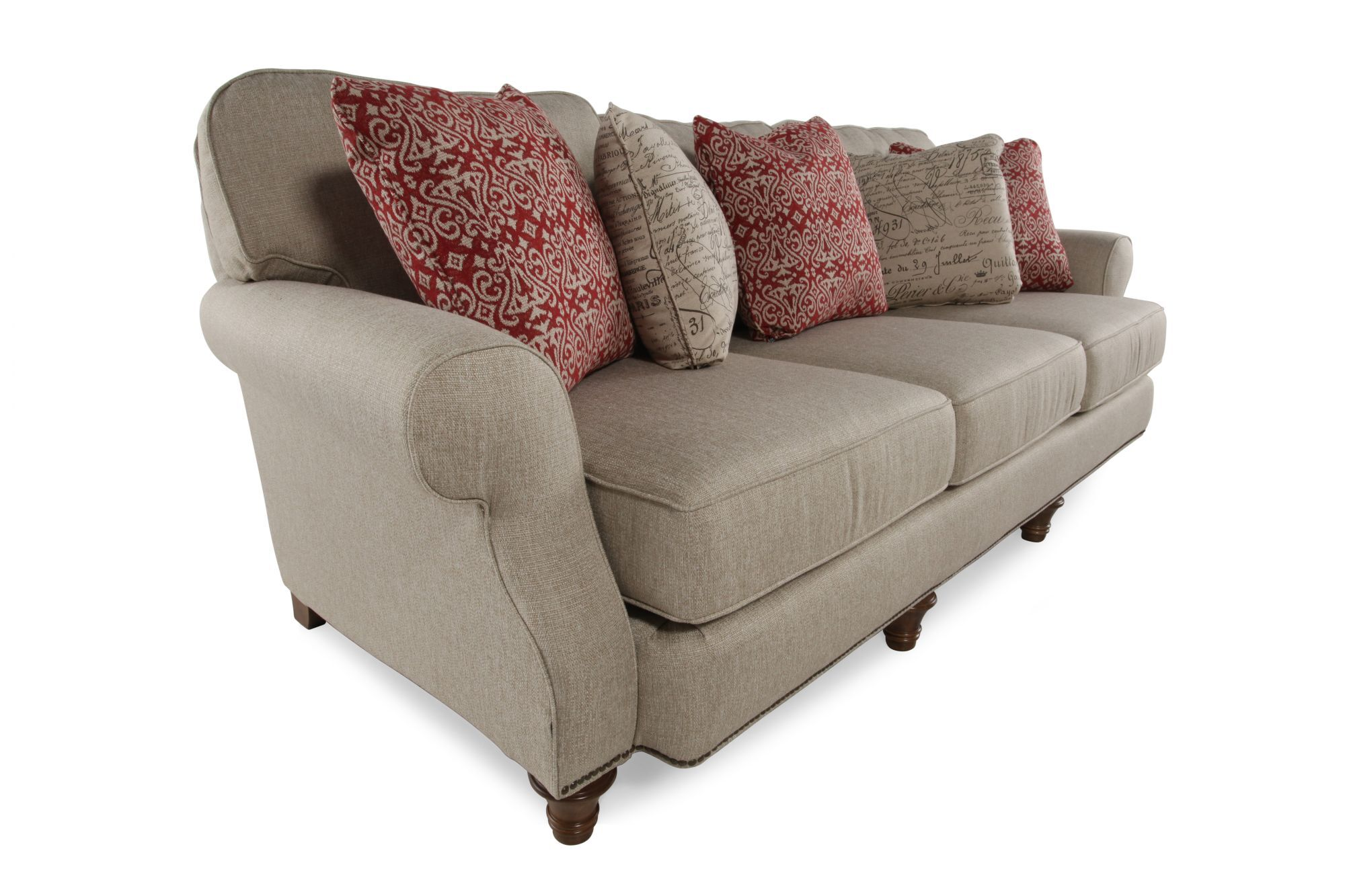 Nailhead Accented 98 Rolled Arm Sofa In Gray Mathis Brothers Furniture