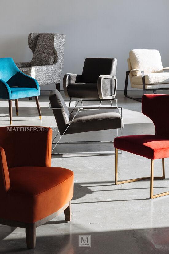 """Modern Velvet 24"""" Accent Chair in Aqua"""