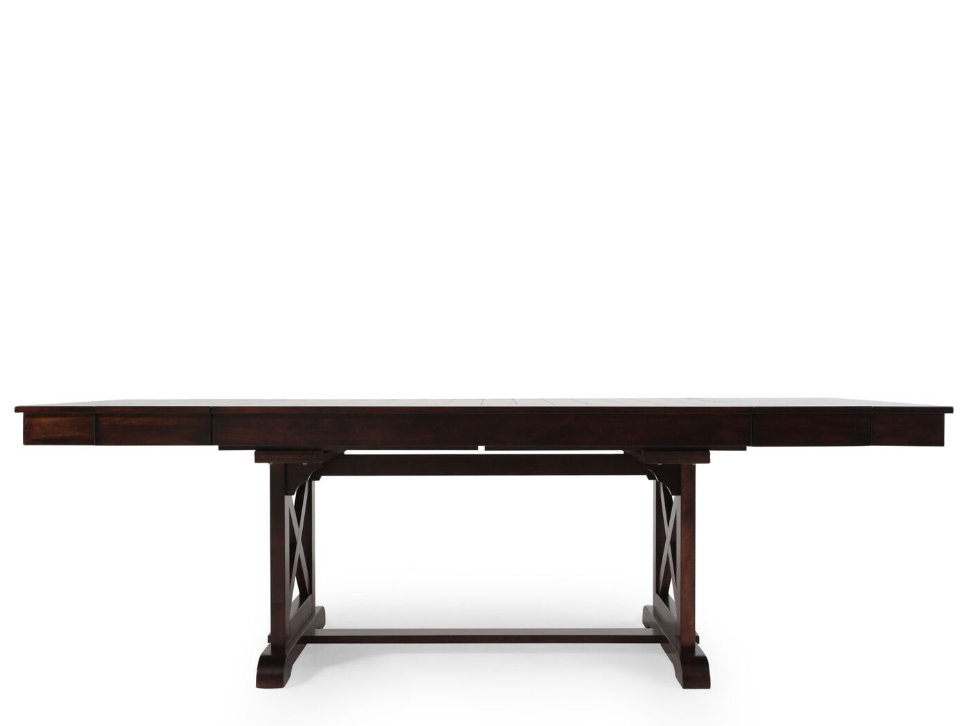 """71"""" 83"""" 95"""" Butterfly Leaf Trestle Traditional Dining Table in"""