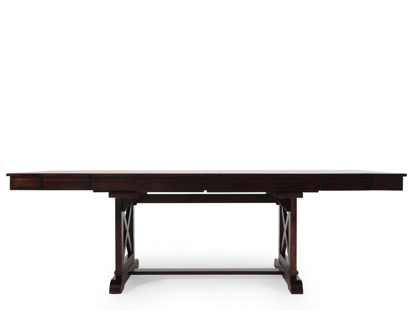 Traditional 71 to 95 trestle dining table with butterfly for Table with that left