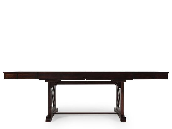 "Traditional 71"" to 95"" Trestle Dining Table with Butterfly Leaves in Dark Espresso"