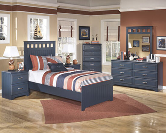 Casual Two-Drawer Youth Nightstand in Blue