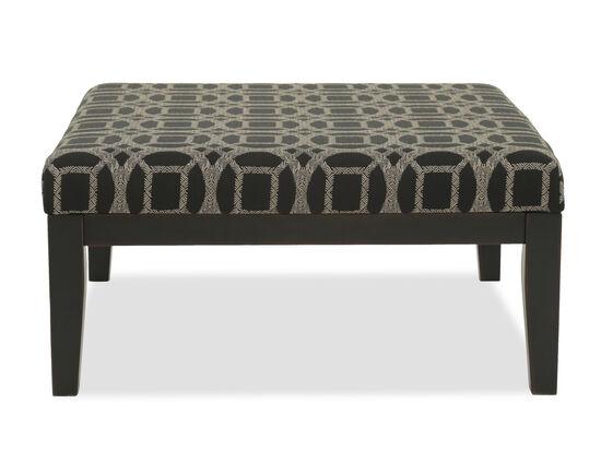 "Geometric Pattern Contemporary 39.5"" Accent Ottoman in Black"