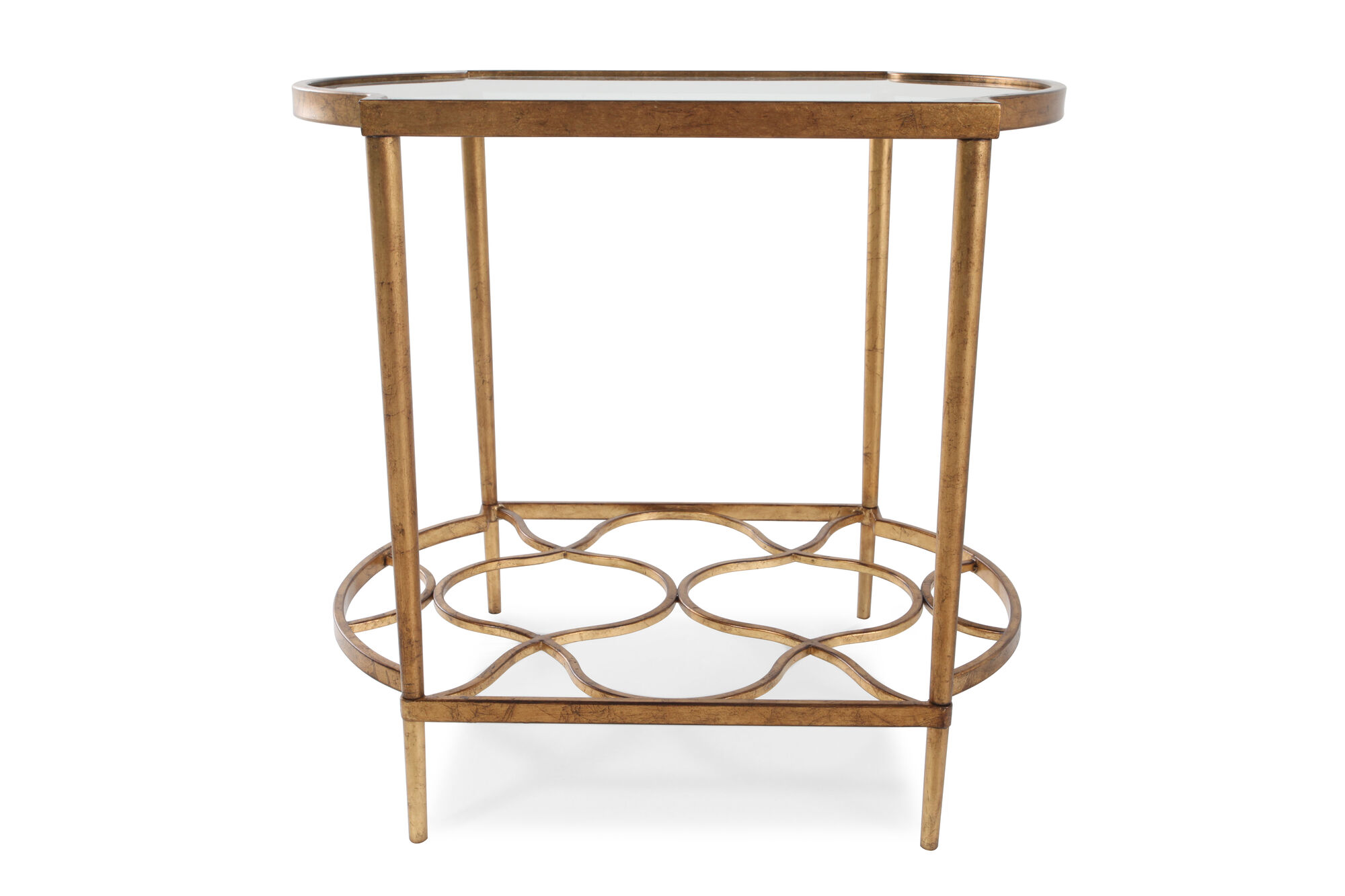 Tempered Glass-Top Transitional End Table In Gold Leaf