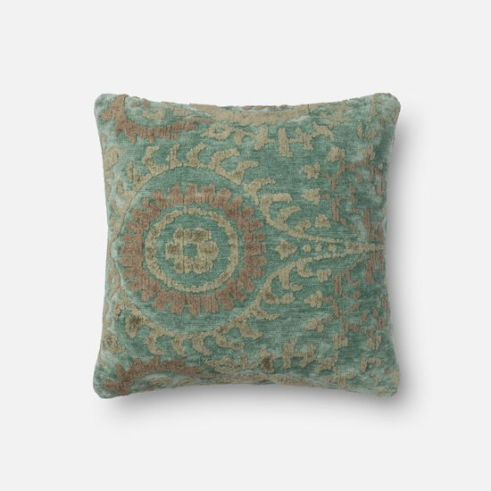 """Contemporary 18""""x18"""" Cover w/Poly Pillow in Blue Grass"""