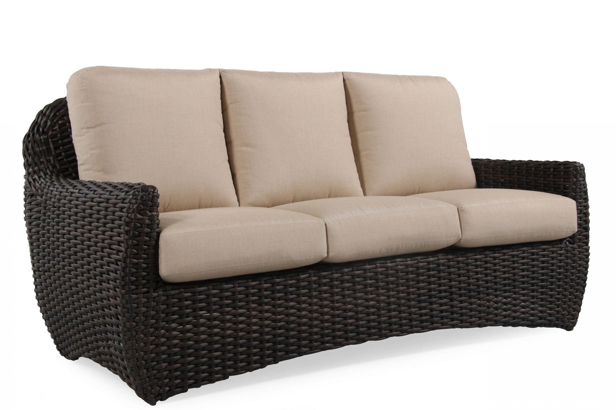 Three Seater Woven Sofa In Beige
