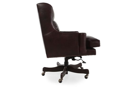 Leather Nailhead Accented Desk Chair in Brown