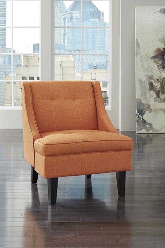 "Tufted Contemporary 28"" Accent Chair in Orange"