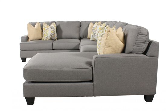 """Four-Piece Contemporary 37.5"""" Sectional in Alloy"""