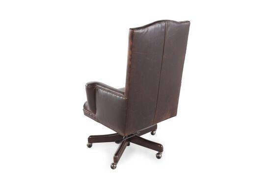 Leather Nailhead-Trimmed Desk Swivel Tilt Chairin Russet Brown