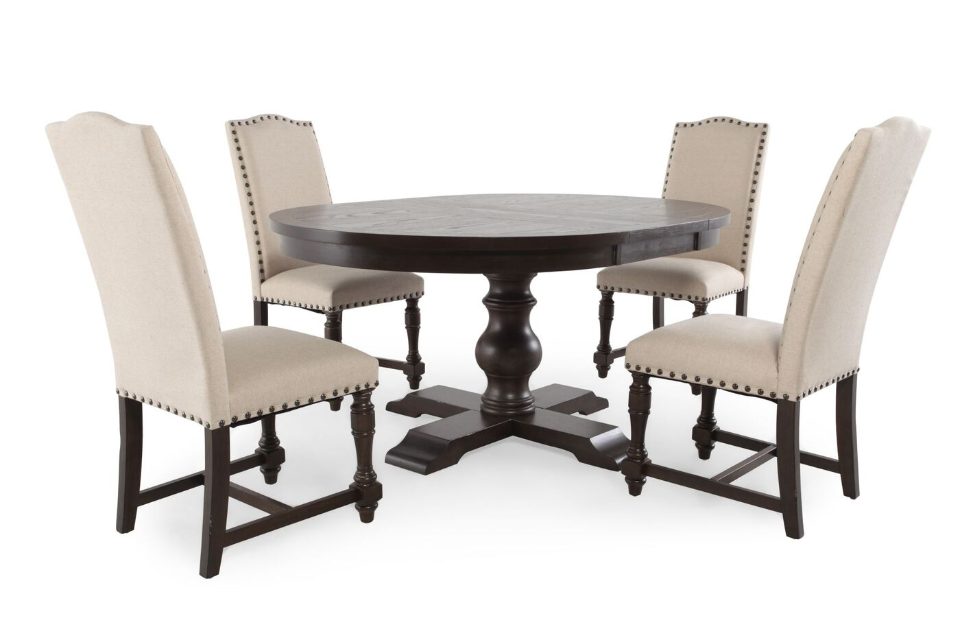 FivePiece Solid Wood Traditional Round Extension To - 48 round solid wood dining table