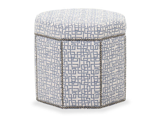 "Nailhead-Accented 20"" Contemporary Ottoman in White"