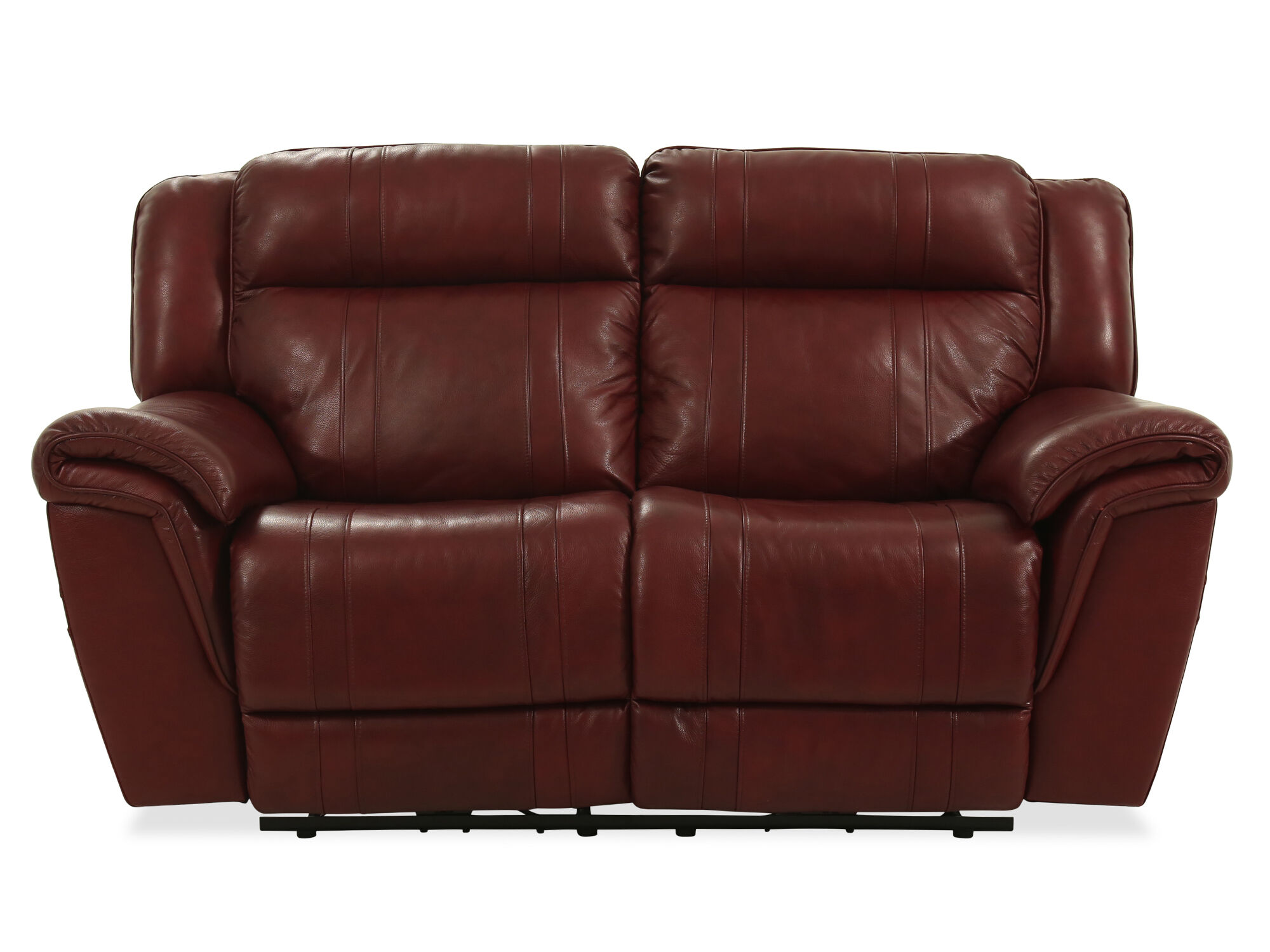 Reclining Contemporary Loveseat In Burgundy ...