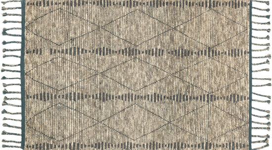 Magnolia Home Hand Knotted 5'6''x8'6'' Rug in Stone/Blue