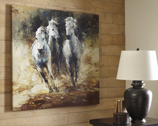 Casual Horse Canvas Wall Art in Gold/Black/Brown/White