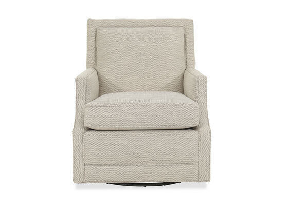"Wave Patterned Transitional 27.5"" Swivel Glider Chair in Cream"