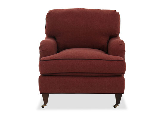 Traditional Caster Front Accent Chair in Sangria