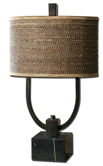 Oval Drum Table Lamp in Brown