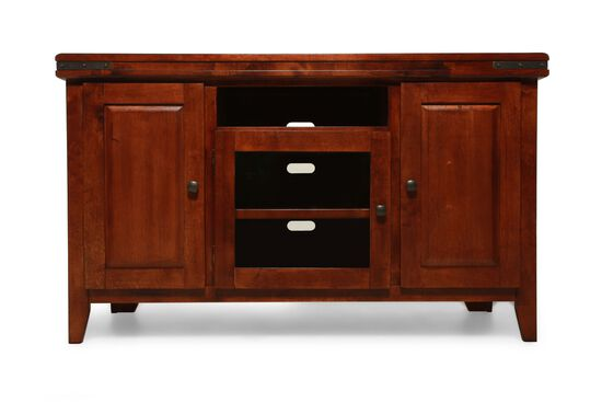 "32"" Paneled Front Transitional Media Base in Medium Cherry"