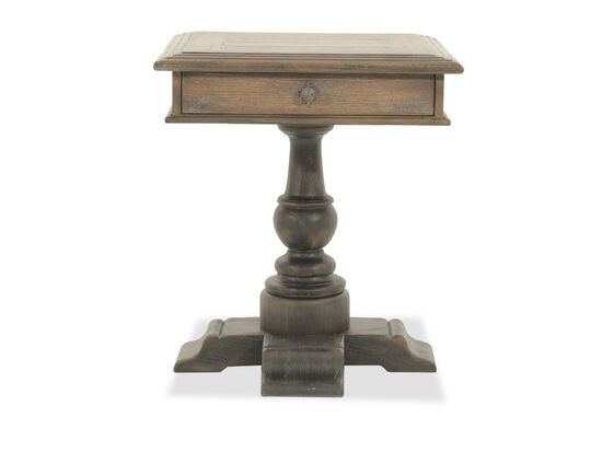 """30"""" Traditional Aged Square Bedside Tablein Brown"""