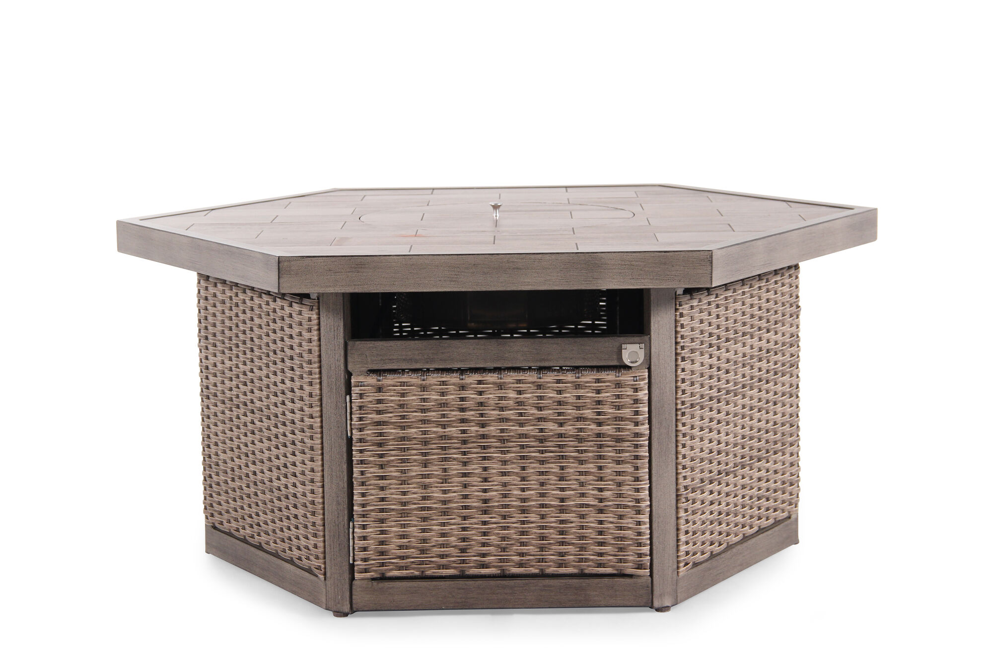 All weather woven fire pit in light brown mathis brothers furniture