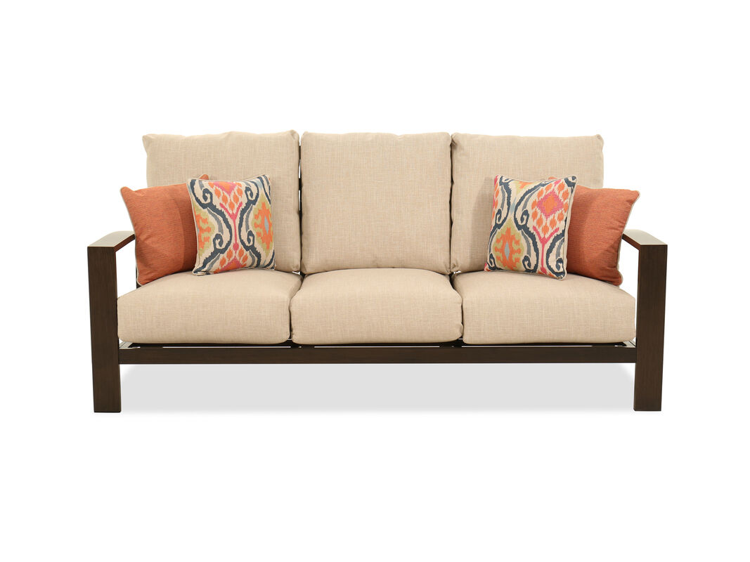Aluminum Patio Furniture The Rich Dark Brown Finish Of Frame Beautifully Complements Contrasting Beige Upholstery Making This Contemporary