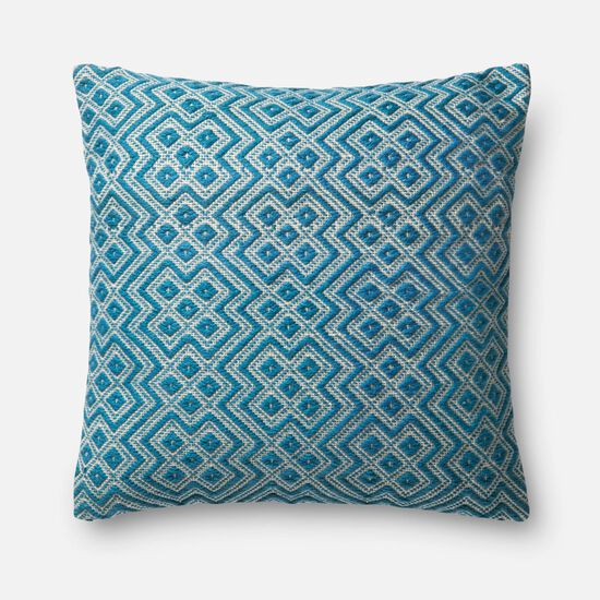 """Indoor/Outdoor 22""""x22"""" Cover w/Down Pillow in Teal/White"""