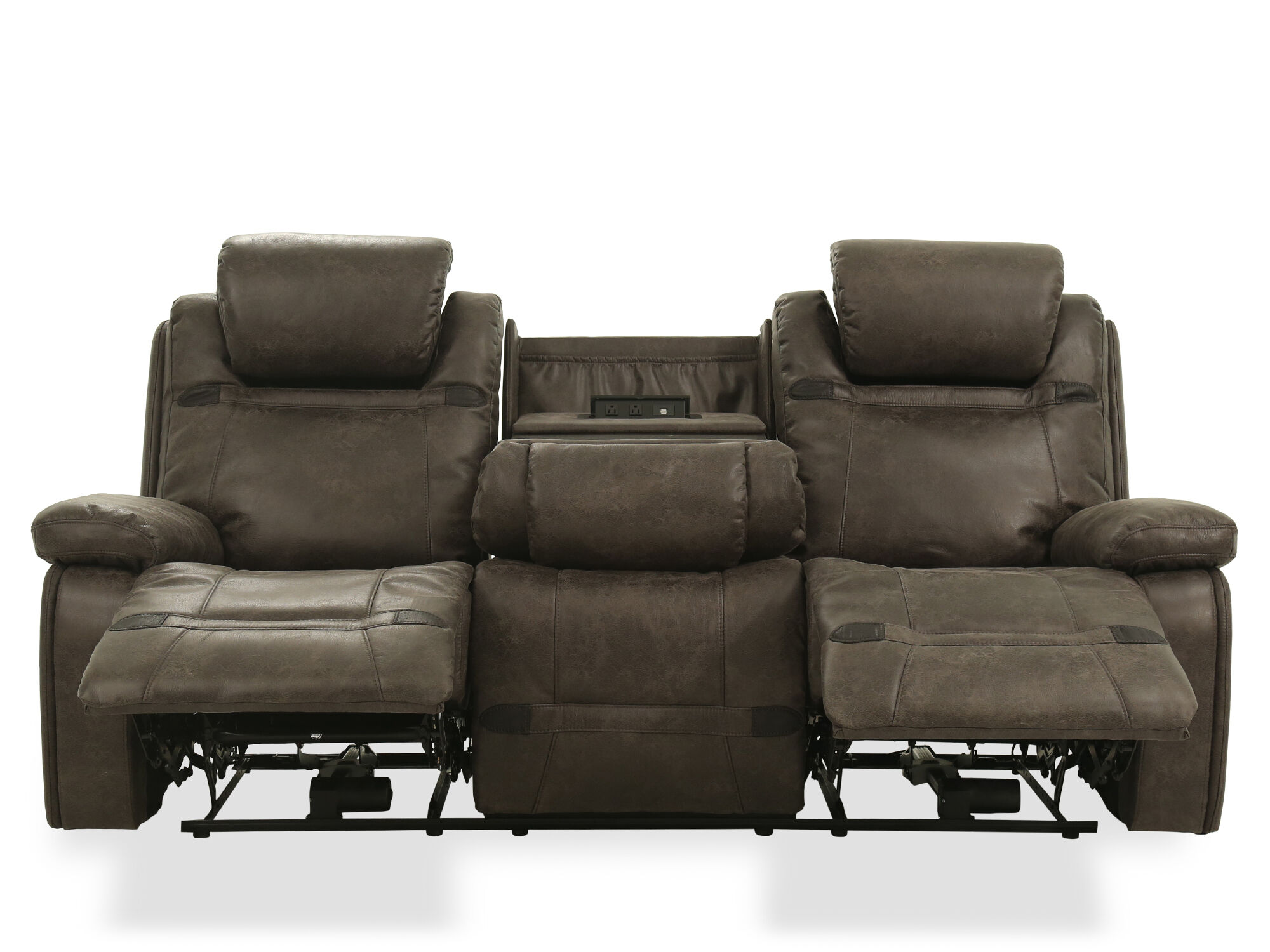 87 5 Quot Leather Power Reclining Sofa In Grey Mathis