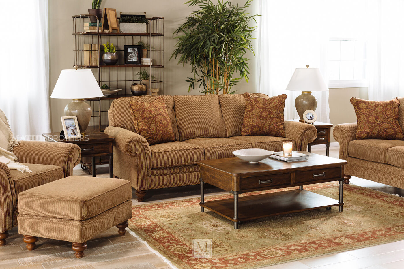 Corduroy casual 88 sofa in nut brown mathis brothers for Casual couch